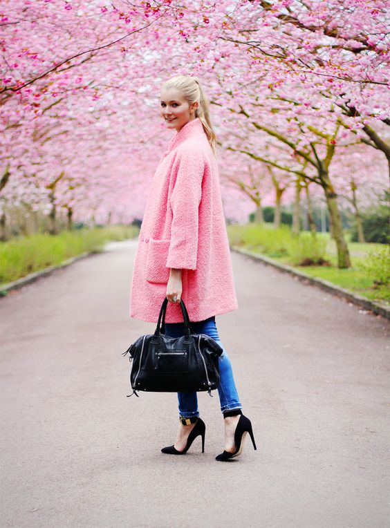Passion for fashion in pink Ganni coat | GANNI Street style
