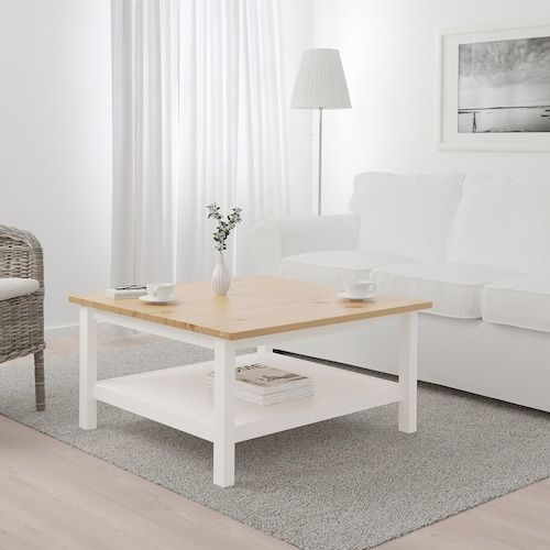 Hemnes Table Basse Teinte Blanc Brun Clair 90x90 Cm Ikea En 2020 Table Basse Salon Marron Ikea Hemnes