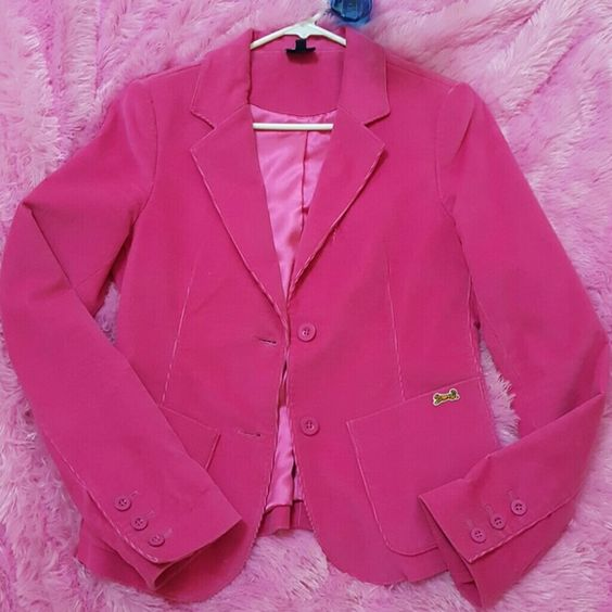 Le Tigre Vintage Jacket/Blazer Hot Pink vintage Blazer by the retired designer vintage designer Le Tigre. Perfect Condition. Size marked as small petite. But I am petite and it is WAY big on me. It was worn by my 5'8 friend. Hits me below hip ( I'm 5ft tall). As hot pink (more the bold red pink not bubblegum  pink ) as hot pink comes. Expensive item well over $200. So sharp looking with jeans or gray pants!! Jackets & Coats Blazers