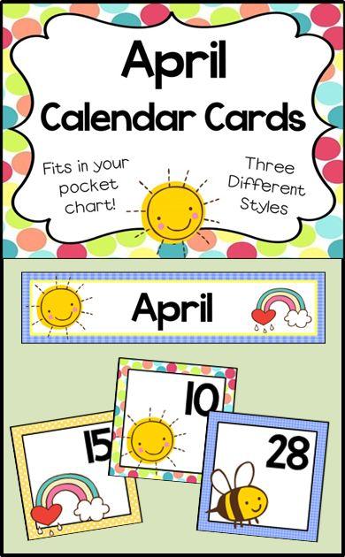 April Calendar Numbers For Preschool : Calendar cards april pocket charts fit and chang e