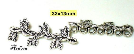 2 Verbinder 7 Loch Tibetsilber 32x13mm mit von Schmuckmaterial