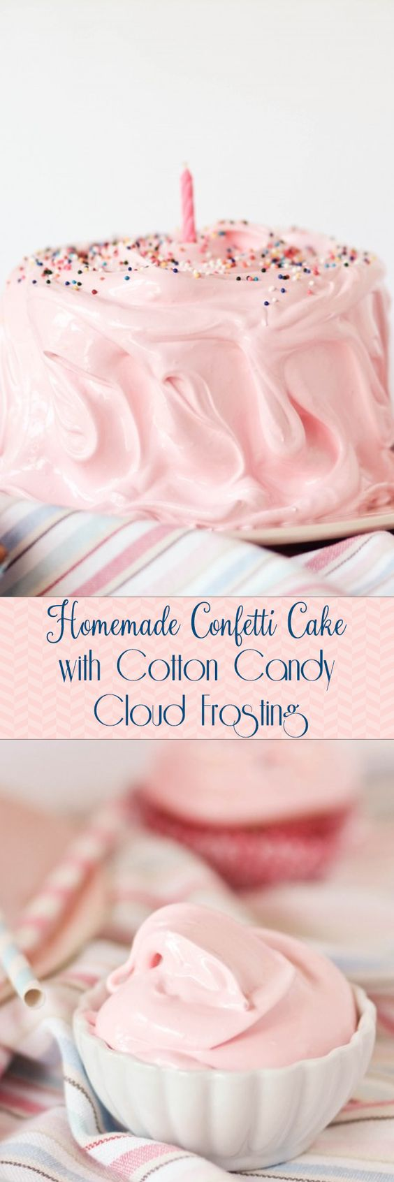 Homemade Confetti Cake with Cotton Candy Cloud Frosting