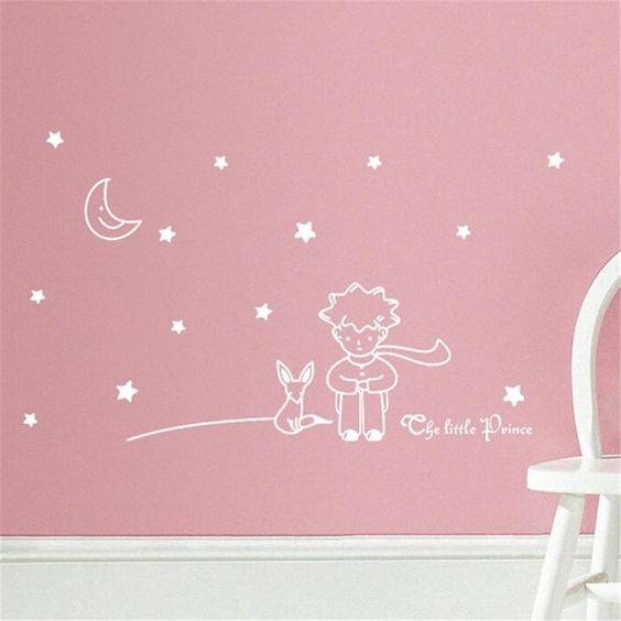 Le Petit Prince Etoiles Lune Boy Autocollant Mural, Home Decor