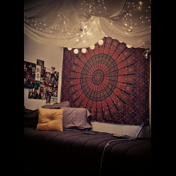 My Dorm for my Sophomore year. Tapestry ordered online, bedset ...