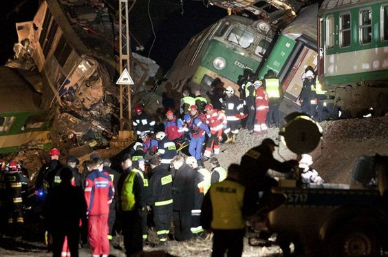 3/3/2012 Two trains running on the same track collided head-on in southern Poland last night, killing 15 people and leaving 56 injured.    Accident worst train disaster in Poland in more than 20 yrs, late last night on Warsaw-Krakow mainline in sml town of Szczekociny.   http://www.dailymail.co.uk/news/article-2109981/Fifteen-killed-scores-injured-trains-collide-head-worst-Polish-rail-disaster-living-memory.html#ixzz1o8nfO4pw