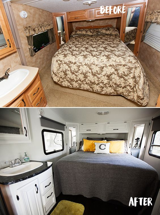 Before and after rv makeover google search rv remodelling pinterest pictures of window - Trailer bedroom ideas ...