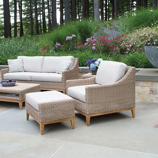 White Wicker Teak Outdoor Lounge Chair, Kingsley Bates Furniture