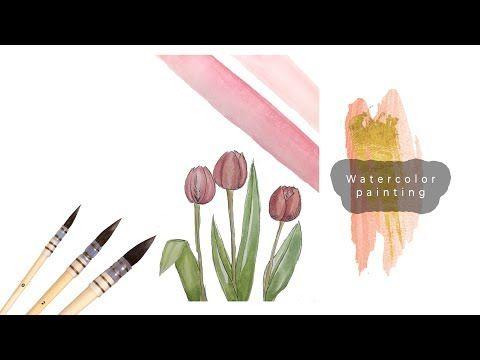 Suluboya Ile Geometrik Lale Boyama Ve Fineart Kelemi Ile Cizimi Watercolor Tulip Youtube Suluboya Cizim Tulip