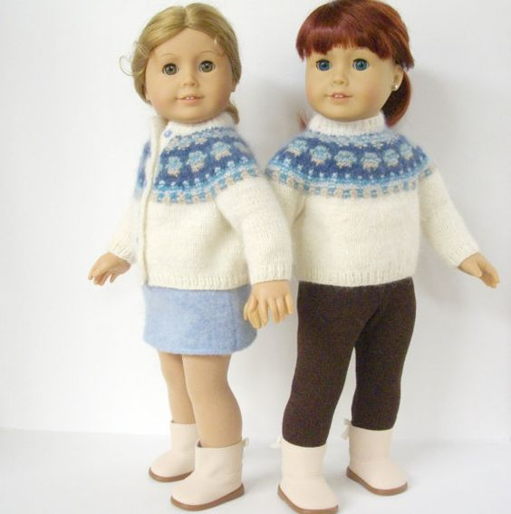 Knitting Pattern Doll Cardigan : American Girl Doll Knitting Pattern, Cardigan Bohus Blue ...