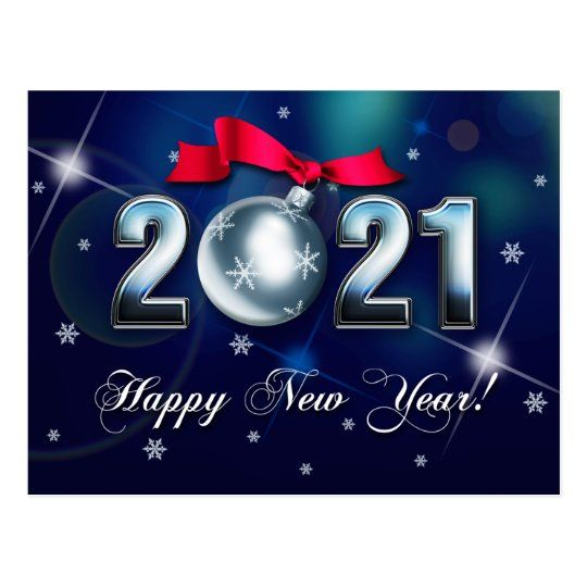 Happy New Year 2021 Christmas Bauble Holiday Postcard Zazzle Com In 2020 Holiday Postcards Custom Holiday Card Corporate Greeting Cards