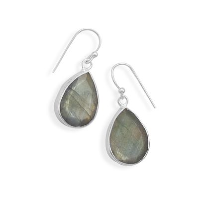 Faceted labradorite french wire earrings