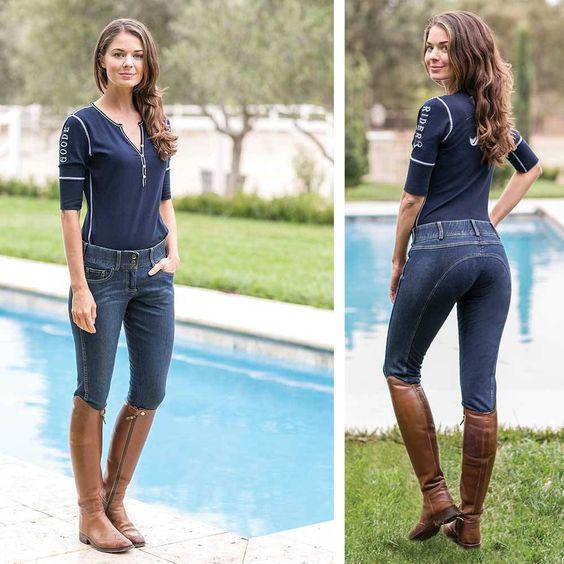 De Goode Rider ™ Jeans met lederen zitvlak zorgt voor een slanke look. De in vier-richtingen stretch denim zorgt voor de ultieme rijcomfort. Met klassieke ged