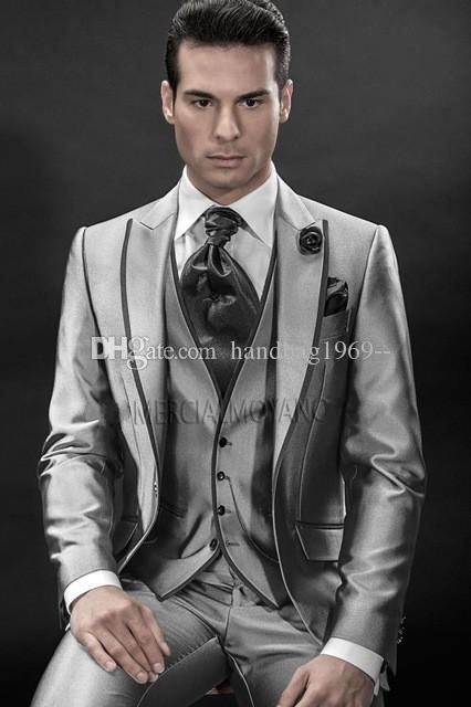 Excellent Style One Button Silver Gray Groom Tuxedos Peak Lapel Groomsmen Mens…
