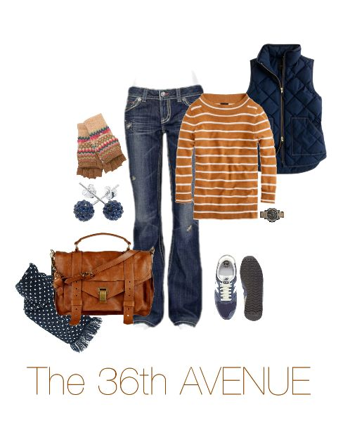 Brown and Navy Outfit. Plus where to find each item in the picture. Perfect for Fall!