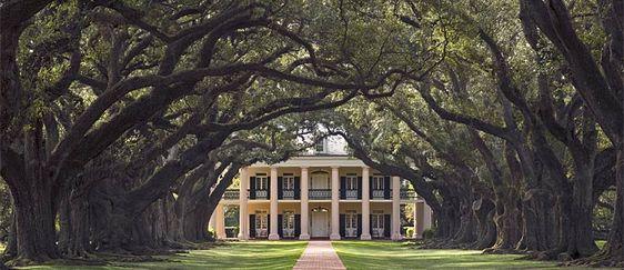 Oak Alley Plantation, Louisiana--framed by beautiful live oaks, and it's pink!