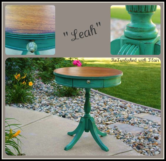 """Painted with Maison Blanche's """"Colette"""" with dark brown wax and a stained top. www.facebook.com/refurbishedwithflair"""