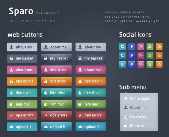 XOO Plate :: Sparo - Free web elements - = Sparo .. it is my firest FREE web elements backage .. and i hope you like it ..    thanks for :: www.Mhgoz.com    = it contains 3 buttons styles with more than five colors ,, also 3 social icons style ,, and sub menu layout for bootstrap ..    = you can download psd from the attach , and don`t miss the like and share it if you want but remember to talk about the rights ..    = my website : www.ocreative.net ..
