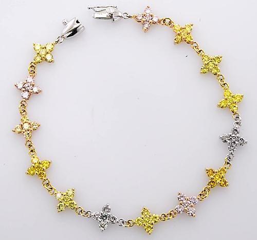Pink Yellow White Sapphire Bracelet 12 Carats Women White Jewelry 14k New In 2020 Sapphire Bracelet White Sapphire Jewelry