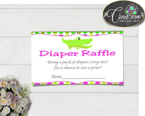 Our new product: Baby shower DIAPE.... Check it out here: http://snoopy-online.myshopify.com/products/baby-shower-diaper-raffle-insert-cards-printable-for-baby-shower-with-green-alligator-and-pink-color-theme-jpg-pdf-instant-download-ap001
