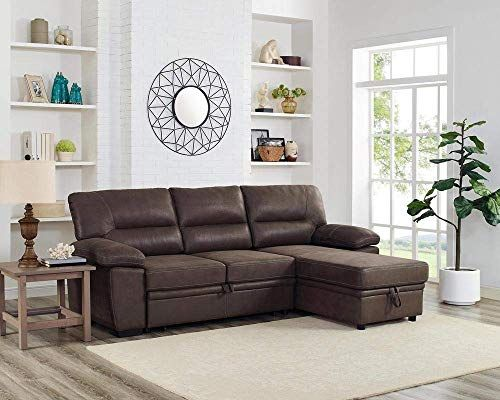 New Lilola Home Kipling Microfiber Reversible Sleeper Sectional Sofa Saddle Brown Online Wehaveover In 2020 Sectional Sleeper Sofa Sectional Sofa Sleeper Sectional