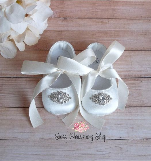 Baby Girl White Christening  Shoes Baptism Shoes Lace Pearls Flowers Headband