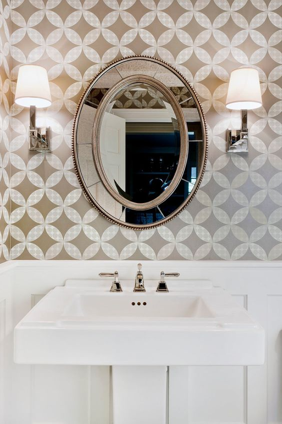 Cool decorative oval mirrors bathroom decorating ideas - Traditional bathroom mirror with lights ...