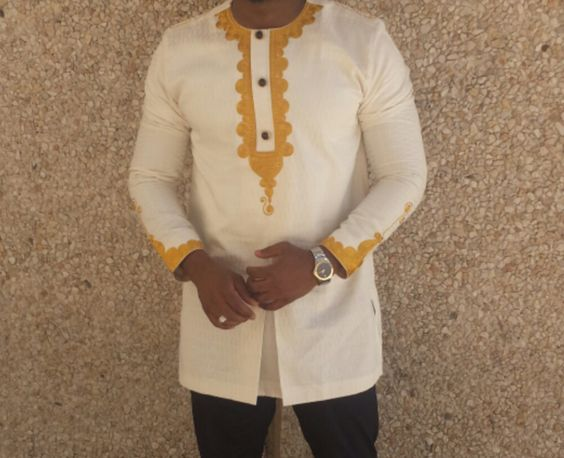 DC Cream Colour African Men's Top by COUNTRI5 on Etsy