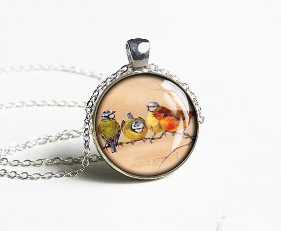 Handmade four tweet birds necklace pendant - gift idea