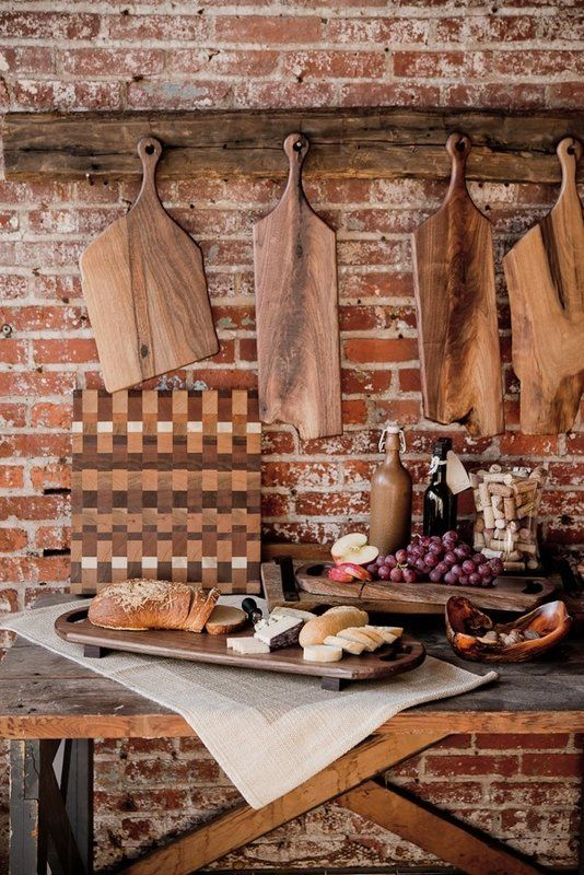 Live edge walnut cutting boards and culinary tools