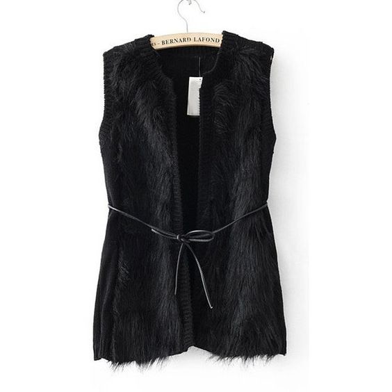 Black Sleeveless Cardigan Chest Faux Fur Vests ($45) ❤ liked on Polyvore
