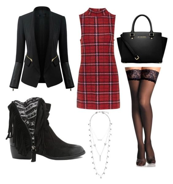 """A tartan flare"" by ellie-partington on Polyvore featuring Topshop, Chicsense, MICHAEL Michael Kors, Qupid, Lucky Brand, women's clothing, women's fashion, women, female and woman"