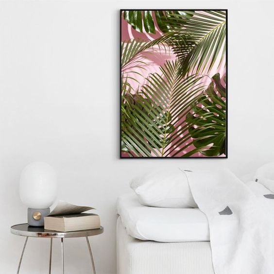 Palm Tree Print Fashion Wall Art Pink Blush Palm Art   Etsy