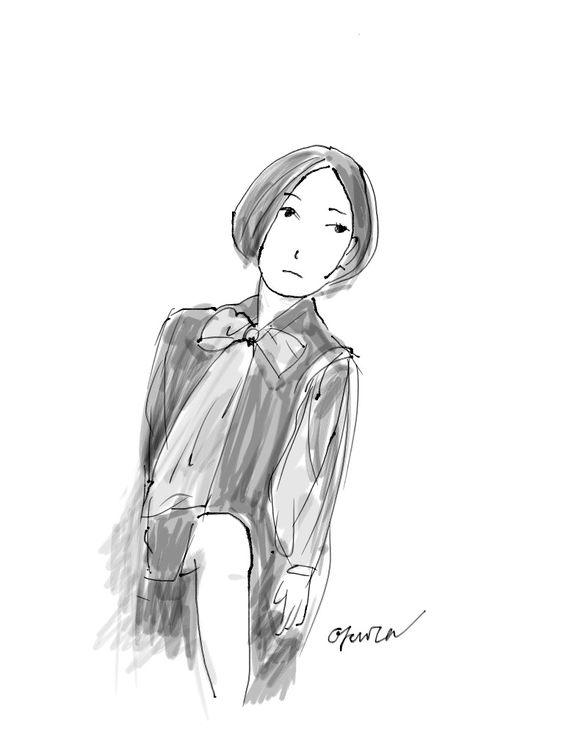 "I drew a woman using iPad. I used the iOS app""Zen Brush""."