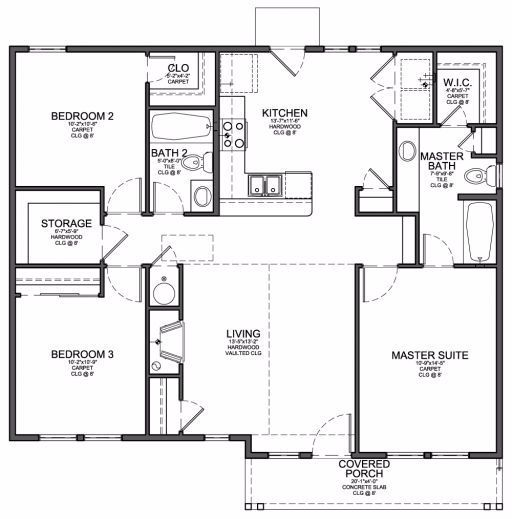 Inspiring Floor Plan For Small 1200 Sf House With 3 Bedrooms And 2 3 Bedroom House Plans Photo In 2020 House Layouts Tiny House Layout Home Design Floor Plans