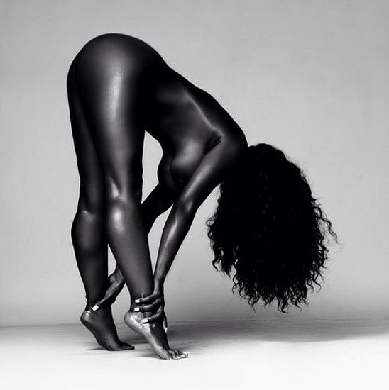 Black and white nude act