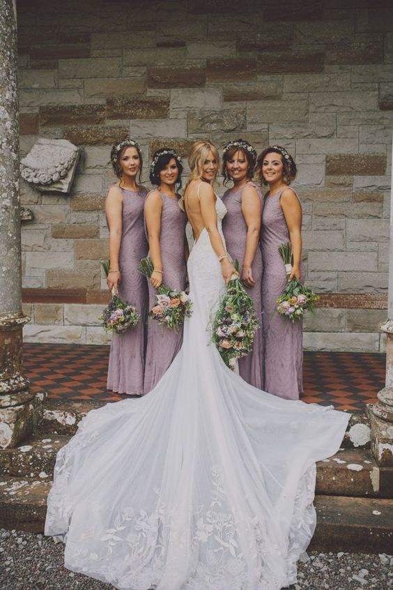Elegant lavender bridesmaid style and a show-stopping backless dress for the bride | Image by Ten21 Photography