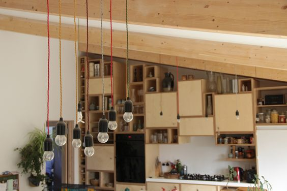 A bespoke kitchen was created use a concept of different sized / shaped boxes piled up.  #eachoneisunique #bespoke #kitchens #lighting #createyourown #PAADarchitects #Oldlemonadefactory