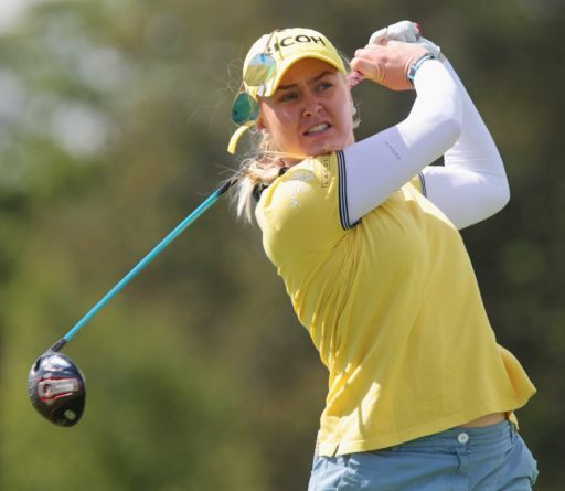 Charley Hull, of England, loses her sunglasses as she tees off during the first round of the Manulife LPGA Classic golf tournament in Cambridge, Ontario, on Thursday, Sept. 1, 2016. (Dave Chidley/The Canadian Press via AP)