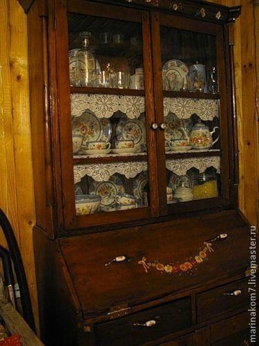 Буфет - буфет,мебель из дерева,роспись акрилом,коричневый,дерево,акрил