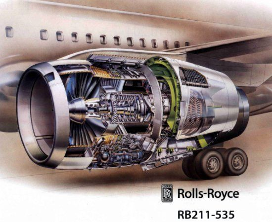 Cutaway diagram of the RB211535 fitted to a Boeing 757