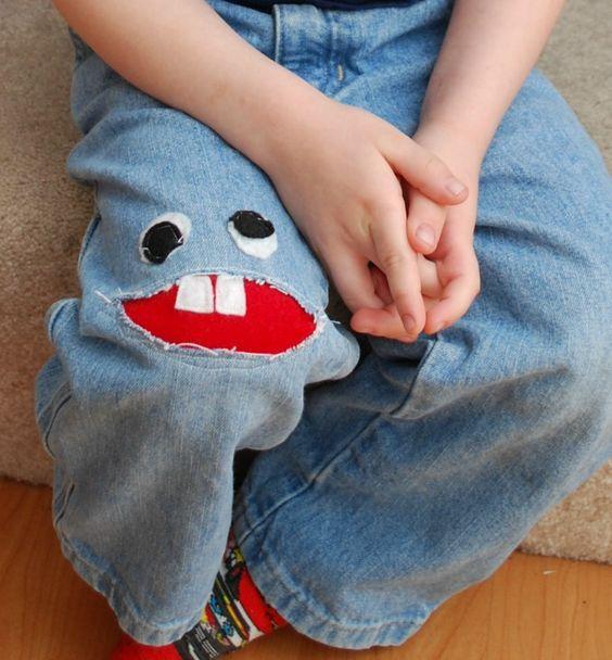Little Monster Recycled Upcycled denim old jeans SAVE MONEY +++ RECICLAR REUTILIZAR VIEJOS PANTALONES TEJANOS PARCHE INFANTIL DIVERTIDO SIMPATICO HUMOR AHORRAR DINERO