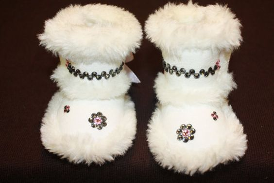 Swarovski Crystal White furry booties by EmeraldCityBling on Etsy