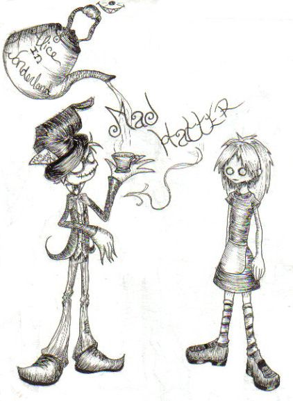 Gothic Mad Hatter and Alice by animejunkie106.deviantart.com on @deviantART