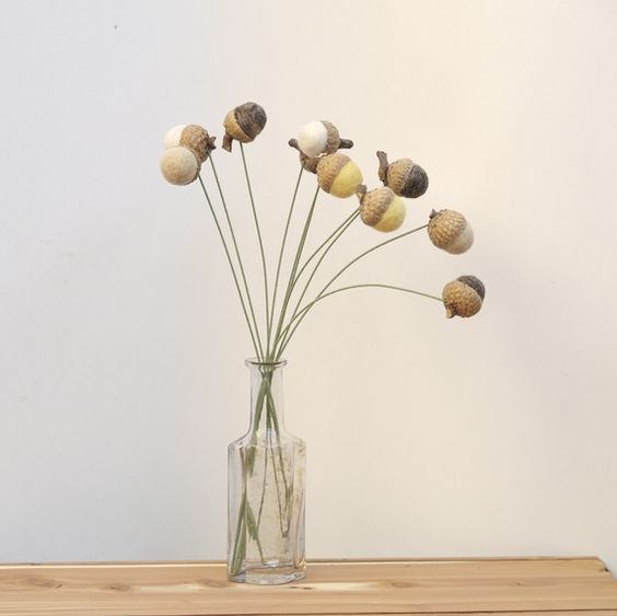 Wool Acorn Flowers felt Billy Button Ball Autumn Fall by Fairyfolk, $30.00