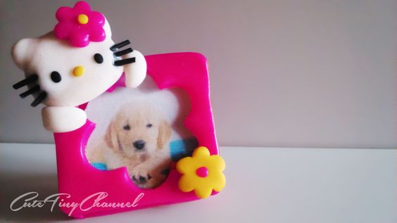 Hello Kitty Picture Frame Polymer Clay Tutorial Miniature ✿Mini Portafotos de Arcilla Polimérica✿