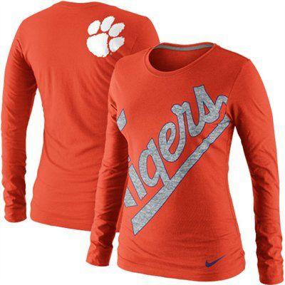 Nike Clemson Tigers Ladies Angled Script Long Sleeve Tri-Blend T-Shirt - Orange