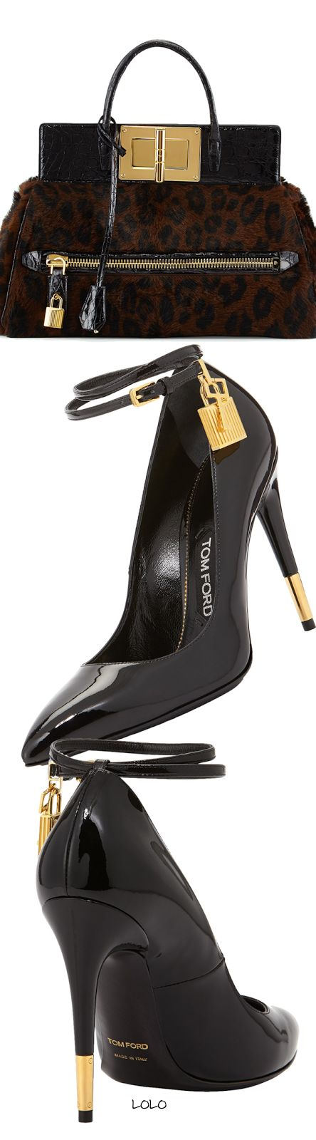 Tom Ford Natalia Pony & Alligator Doctor Bag Tom Ford Padlock Ankle-Strap Pump