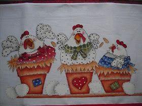 Paty & Dinda Artes: - Mais Pintura Country em panos de prato..........