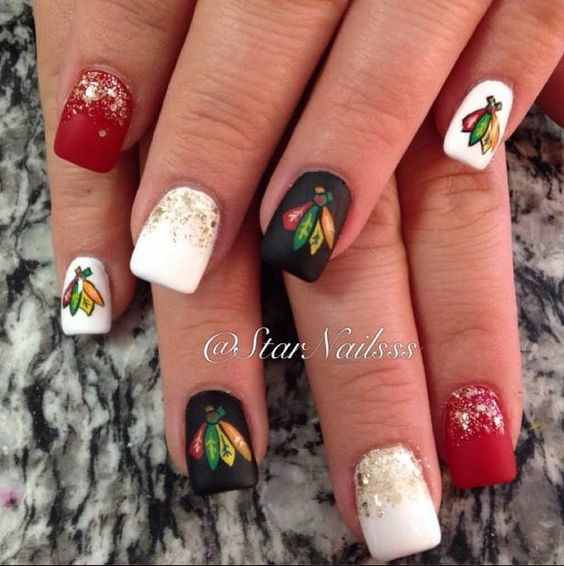 Chicago Blackhawks nail art.