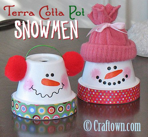 Give these DIY Terra Cotta Pot Christmas snowmen their own ear muffs or a cute little hat to keep them warm!